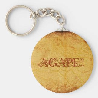 AGAPE!!... RELIGIOUS KEYRINGS BASIC ROUND BUTTON KEY RING