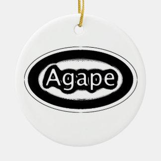 agape round ceramic decoration