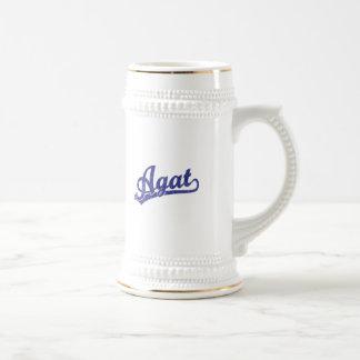 Agat script logo in blue mugs