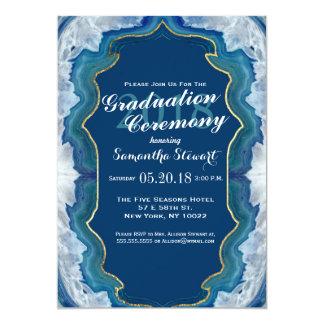Agate Elegant Pretty Blue Teal Geode Pattern 13 Cm X 18 Cm Invitation Card