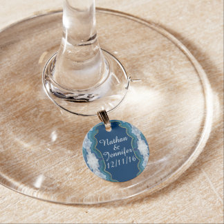 Agate Elegant Pretty Blue Teal Geode Pattern Wine Charm