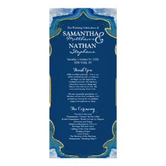 Agate Elegant Pretty Blue Teal Geode Program Customized Rack Card