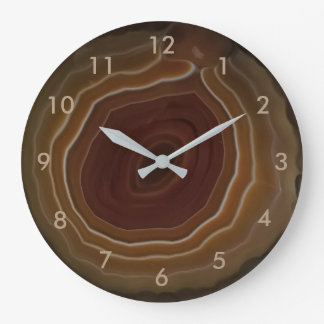 Agate slice brown stone clock with numbers.
