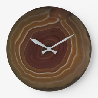 Agate slice orange and brown unique style large clock