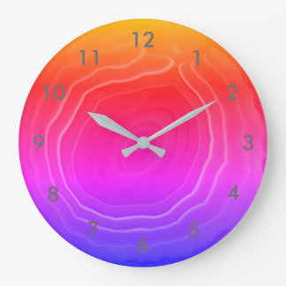Agate slice pink blue orange with numbers. large clock