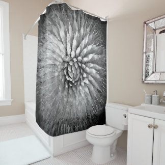 Agave Abstract Black and White Shower Curtain
