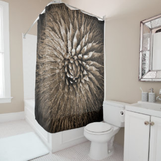 Agave Abstract Brown Sepia Shower Curtain