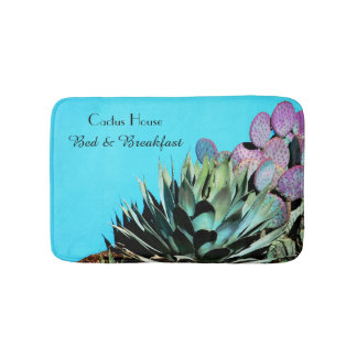 Agave and Prickly Pear Cactus on Turquoise Wall Bath Mats
