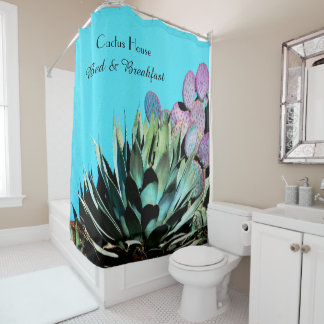 Agave and Prickly Pear Cactus on Turquoise Wall Shower Curtain