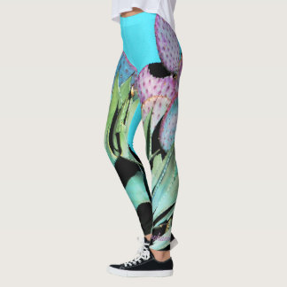 Agave, Purple Cactus, Turquoise, Personalized Name Leggings