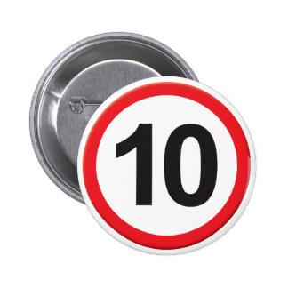 Age 10 6 cm round badge