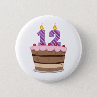 Age 12 on Birthday Cake 6 Cm Round Badge