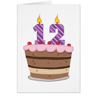 Age 12 on Birthday Cake Greeting Card