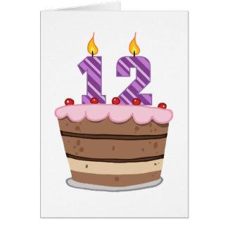 Age 12 on Birthday Cake Greeting Card