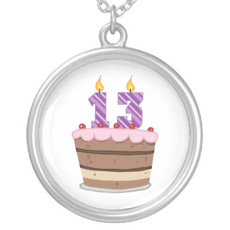 Age 13 on Birthday Cake Silver Plated Necklace