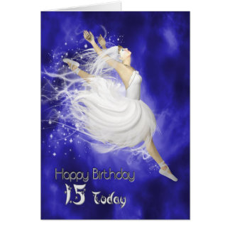 Age 15, leaping ballerina birthday card