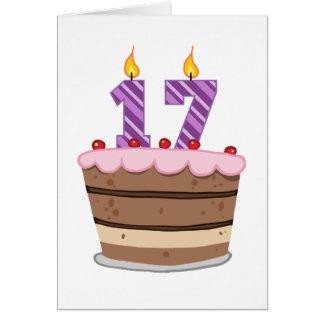 Age 17 on Birthday Cake Card