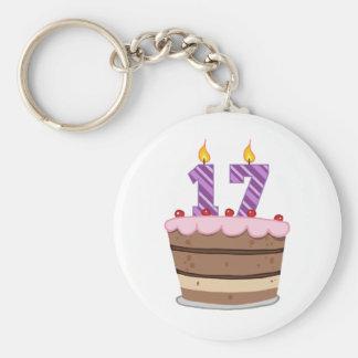 Age 17 on Birthday Cake Key Ring
