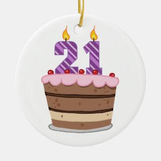 Age 21 on Birthday Cake Ceramic Ornament