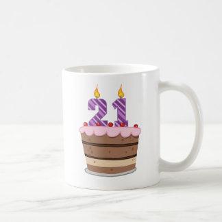 Age 21 on Birthday Cake Mug