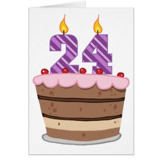 Age 24 on Birthday Cake Card
