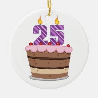 Age 25 on Birthday Cake Ceramic Ornament