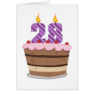 Age 28 on Birthday Cake Greeting Card