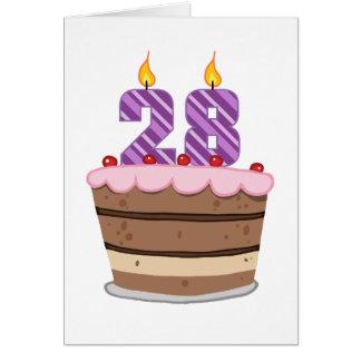 Age 28 on Birthday Cake Greeting Card