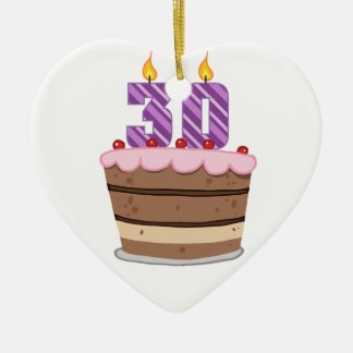 Age 30 on Birthday Cake Ceramic Ornament