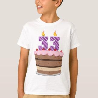 Age 33 on Birthday Cake T-Shirt