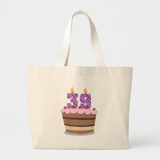 Age 39 on Birthday Cake Large Tote Bag