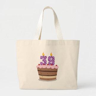 Age 39 on Birthday Cake Canvas Bag