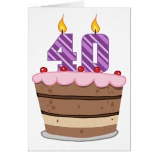 Age 40 on Birthday Cake Card