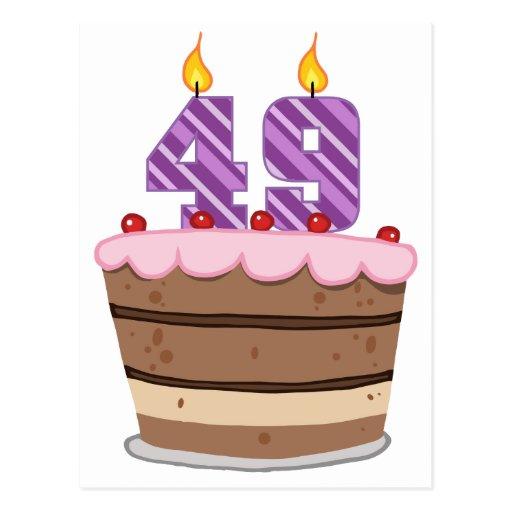 Age 49 On Birthday Cake Postcard Zazzle