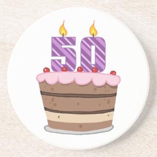 Age 50 on Birthday Cake Drink Coaster