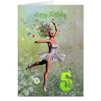 Age 5, flower fairy birthday card