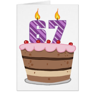 Age 67 on Birthday Cake Greeting Card