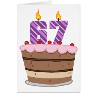 Age 67 on Birthday Cake Greeting Card