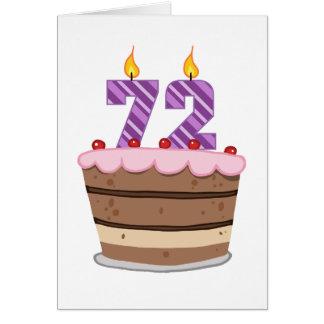 Age 72 on Birthday Cake Card