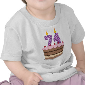 Age 74 on Birthday Cake T Shirts