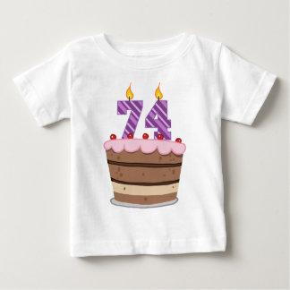 Age 74 on Birthday Cake Tee Shirts
