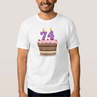 Age 74 on Birthday Cake Tshirts