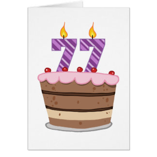 Age 77 on Birthday Cake Greeting Card
