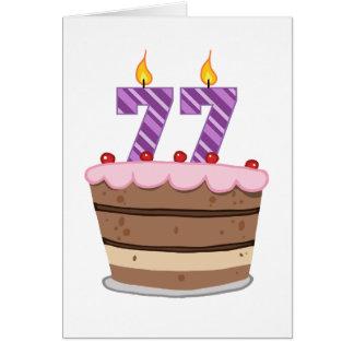 Age 77 on Birthday Cake Greeting Card