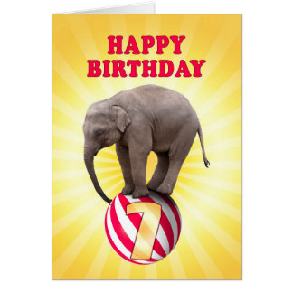 Age 7, a happy elephants birthday card