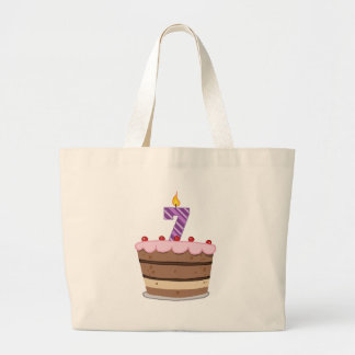 Age 7 on Birthday Cake Canvas Bags