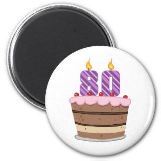 Age 80 on Birthday Cake Refrigerator Magnets