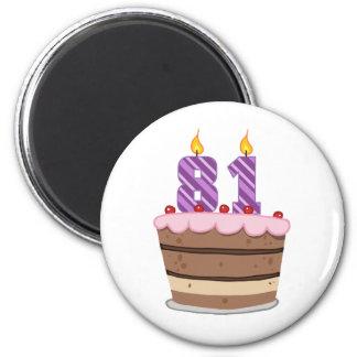 Age 81 on Birthday Cake Magnet