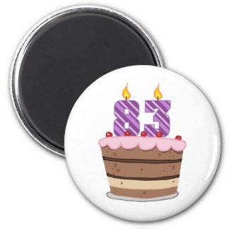 Age 83 on  Birthday Cake Fridge Magnets