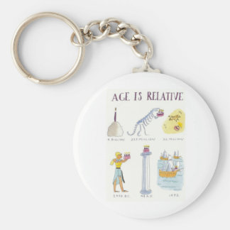 Age Is Relative Basic Round Button Key Ring